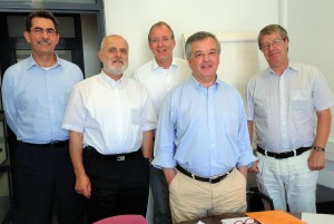 From left to right: Stelios Mavromoustakos (EfVET), Fritz-Gerhard Kuhn (EVBB), Rene van Schalkwijk (EUproVET), Alfredo Soeiro (eucen) and Hans Daale (EURASHE) during the group's meeting in Barcelona, 10 July 2014